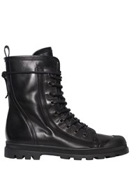 Diesel Black Gold Lace Up Leather Combat Boots