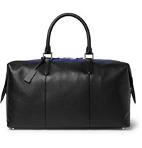 Smythson Burlington Striped Full Grain Leather Holdall Black