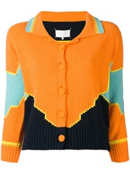 Maison Martin Margiela Colour Block Knitted Cardigan Women Cotton Polyester M Yellow Orange