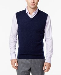 Club Room Men's V Neck Cashmere Sweater Vest Created For Macy's Navy Heather