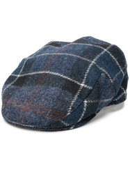 Barbour Checked Flat Cap Blue