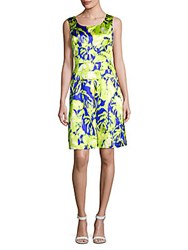 Oscar De La Renta Printed Silk Blend Dress Chartreuse