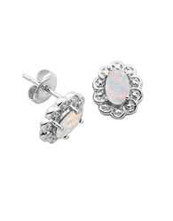 Lord And Taylor October Birthstone Sterling Silver Earrings White