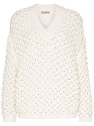 Vika Gazinskaya V Neck Open Weave Jumper White