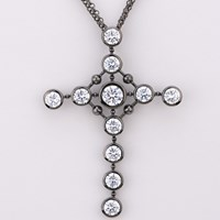 Al X A Let's Rock Cross Pendant Gunmetal Sterling Silver