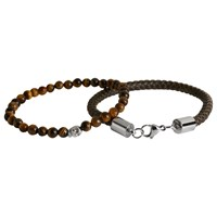 Simon Carter Double Bracelet Leather And Skull Bead Set Brown