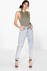 Boohoo High Waist Acid Wash Mom Jeans Blue