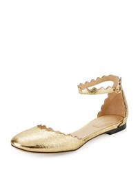 Chloe Scalloped Leather D'orsay Flat Gold Glitter