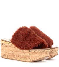 Chloe Camille Shearling Wedge Mules Brown