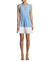 Kate Spade Dip Dyed Denim Ruffle Trim Dress Indigo