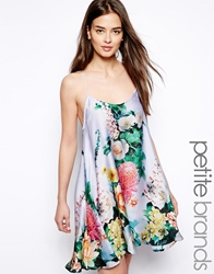 True Decadence Petite Satin Cami Dress In Tropical Floral Print Bluefloral