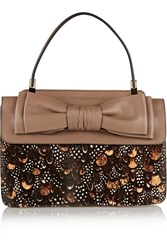 Valentino Printed Calf Hair And Leather Tote Nude