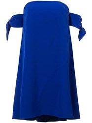 Milly Knotted Sleeves Dress Women Polyester Spandex Elastane 6 Blue