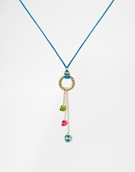 Adele Marie Rope Charms Necklace Blue