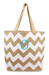 Cathy's Concepts Personalized Chevron Print Jute Tote White White Natural O