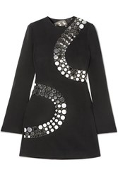 David Koma Embellished Cutout Crepe And Mesh Mini Dress Black