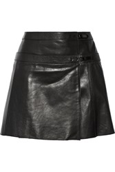 Belstaff Hampstead Leather Wrap Mini Skirt Black