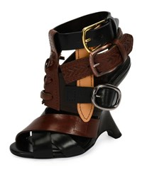 Tom Ford Multi Strap 110Mm Wedge Sandal Black Brown Black Brown