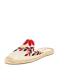 Soludos Embroidered Canvas Mule Slide Sand