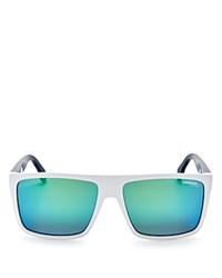 Carrera Mirrored Rectangle Sunglasses 57Mm Matte White Blue Green Mirror