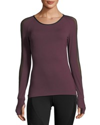 Michi Bolt Scoop Neck Long Sleeve Running Top With Mesh Purple