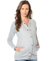 A Pea In The Pod Maternity Quilted French Terry Jacket Grey
