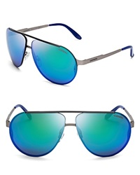 Carrera Mirrored Aviator Sunglasses Ruthenium Green Mirror