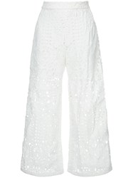 Markus Lupfer Lace Cut Out Trousers White