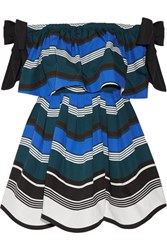 Fendi Off The Shoulder Bow Embellished Striped Cotton Poplin Mini Dress Bright Blue