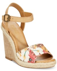 Dolce By Mojo Moxy Posey Espadrille Wedge Sandals Women's Shoes Brown Floral Multi