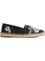 Dolce And Gabbana Rose Garden Print Espadrilles Blue