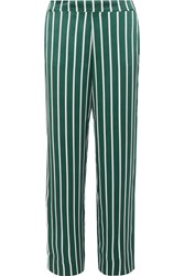 Asceno Striped Silk Satin Pajama Pants Forest Green