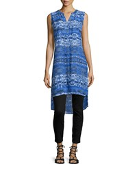 Neiman Marcus Sleevelesshigh Low Printed Tunic Blue