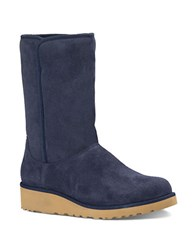 Ugg Amie Sheepskin And Suede Mid Calf Boots Navy Blue