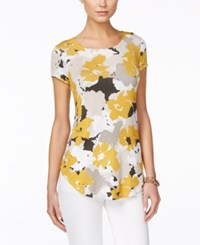 Alfani Floral Print Short Sleeve Top Only At Macy's Floral Movement