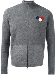 Moncler Logo Plaque Knit Cardigan Grey