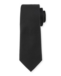 Diamond Grid Silk Tie Black Davidoff