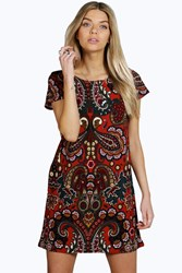Ava Paisley Scoop Neck Shift Dress