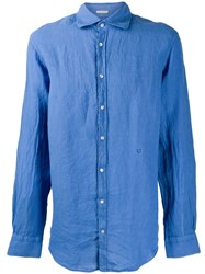 Massimo Alba Crinkle Effect Shirt Blue