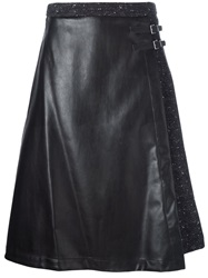 I'm Isola Marras Artificial Leather Panel Midi Skirt Black