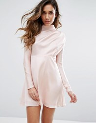 Fashion Union High Neck Dress In Satin Pink