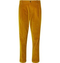 Connolly Goodwood Tapered Cropped Pleated Cotton Corduroy Trousers Mustard