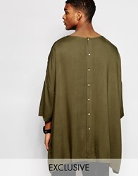 Reclaimed Vintage Shirt With Buttoned Back Green