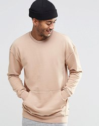 Jack And Jones Crew Neck Sweat With Pouch Pocket Detail Nougat
