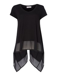 Label Lab Latimer Chiffon Mix Split Back Tee Black