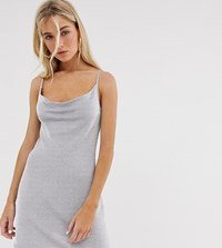 Bershka Metallic Yarn Cowl Mini Dress In Grey