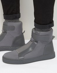 Asos High Top Trainers In Grey With Elastic Grey