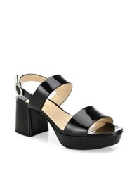 Prada Patent Leather Block Heel Slingbacks Black