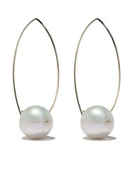 Mizuki 14Kt Gold Pearl Hoop Earrings 60