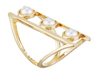 Guess Triple Pearl Open Band Ring Gold White Pearl Ring